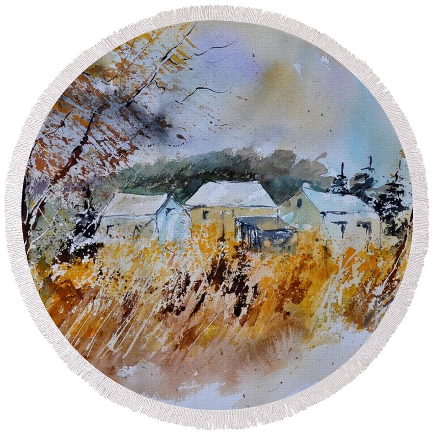 Landscape Round Beach Towel featuring the painting Watercolor 219003 by Pol Ledent