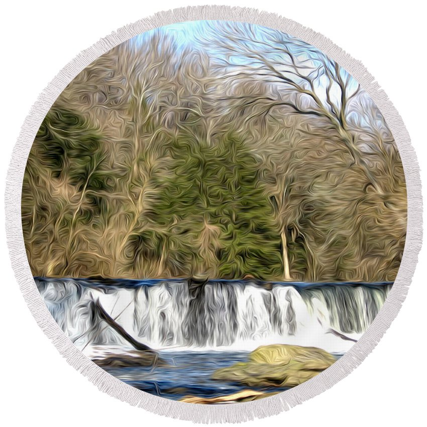 Waterfall In The Woods Round Beach Towel featuring the photograph Waterfall In The Woods by Bill Cannon