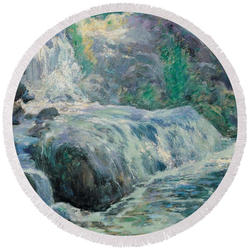 American Impressionist Round Beach Towel featuring the painting Waterfall by John Henry Twachman