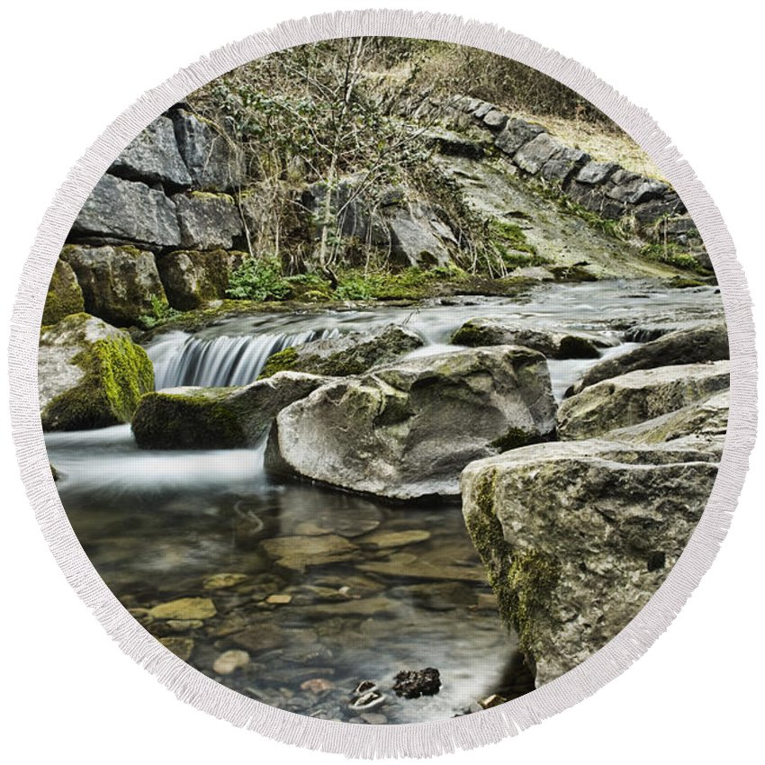 Waterfall Round Beach Towel featuring the photograph Waterfall by Steve Purnell