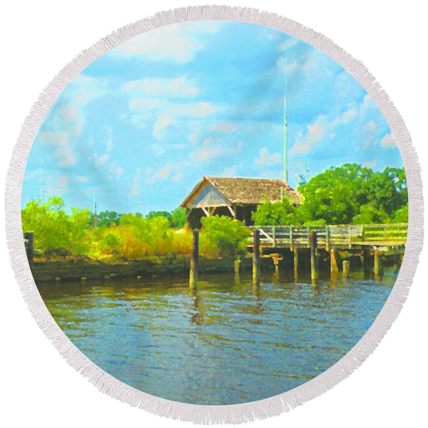 Water Round Beach Towel featuring the photograph Water's Edge by Scott Hervieux