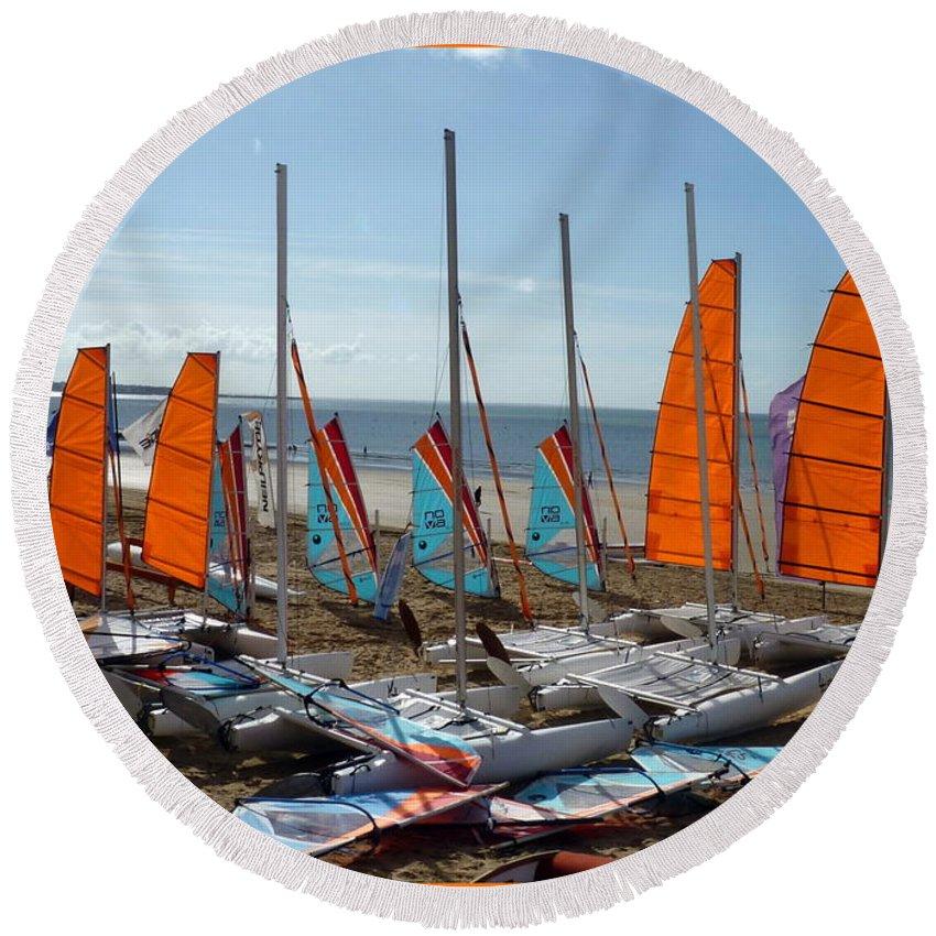 La Baule-escoublac Round Beach Towel featuring the photograph Watersports In La Baule by Carla Parris