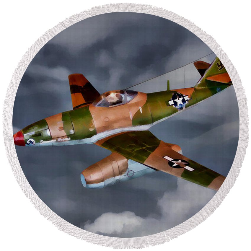 Messerschmitt Me 262 Schwalbe Round Beach Towel featuring the digital art Watson's Whizzers-oil by Tommy Anderson
