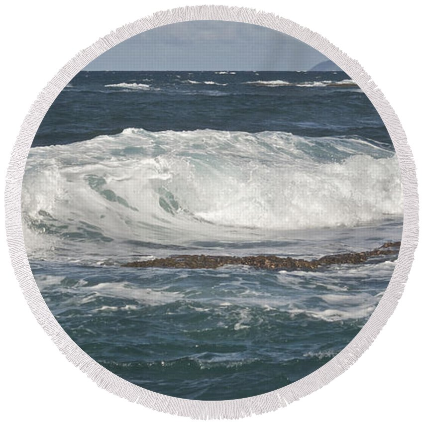 Abstract Round Beach Towel featuring the photograph Waves Breaking 7952 B by Michael Peychich