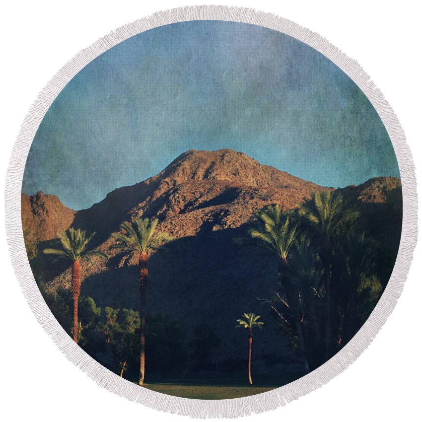Indian Wells Round Beach Towel featuring the photograph We Live In Shadows by Laurie Search