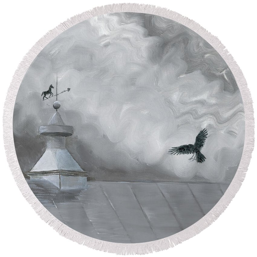 Crow Round Beach Towel featuring the painting Weather Vane by Jackie Irwin