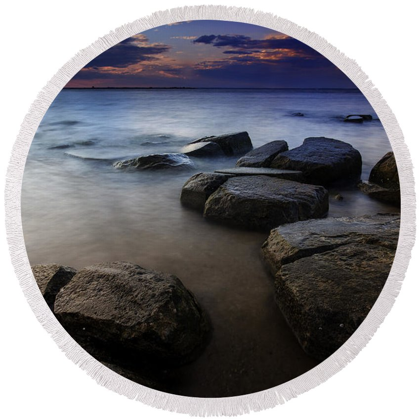 New York Round Beach Towel featuring the photograph Weathered by Rick Berk