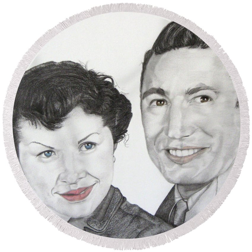 Graphite Round Beach Towel featuring the drawing Wedding Day 1954 by Mayhem Mediums