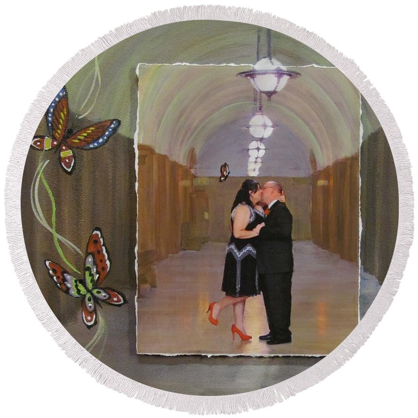 Custom Art For Client Using Butterfly Images And Photo From Milwaukee County Courthouse Round Beach Towel featuring the mixed media Wedding Portrait by Anita Burgermeister