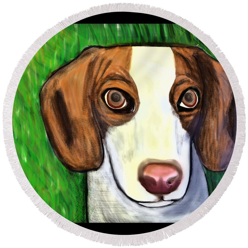 Beagle Round Beach Towel featuring the painting Wee Beagle by Rebecca Stephens