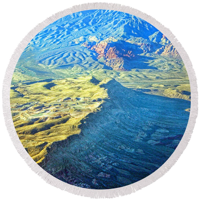 Red Rocks Round Beach Towel featuring the photograph West Of Las Vegas Planet Earth by James BO Insogna