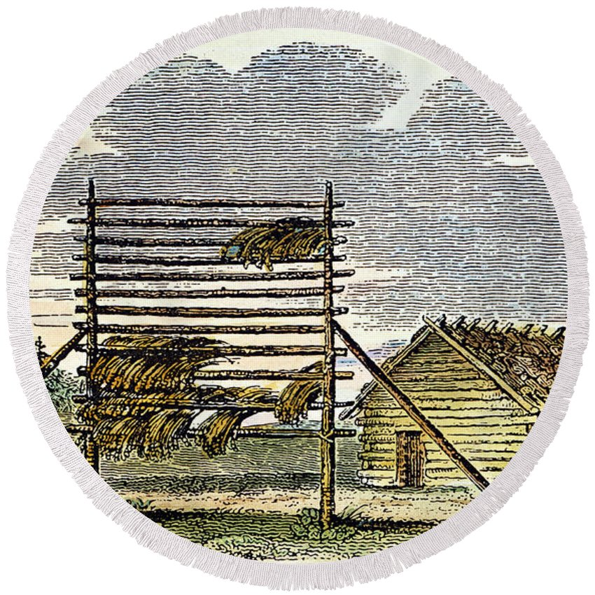 1824 Round Beach Towel featuring the photograph West: Swedish Log Cabin by Granger