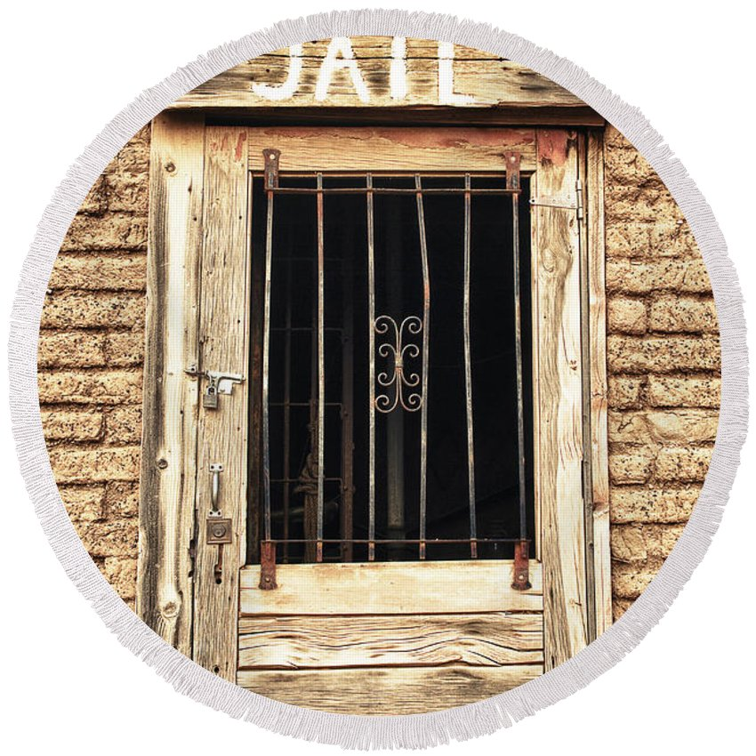 'old Jailhouse' Round Beach Towel featuring the photograph Western Jail House Door by James BO Insogna