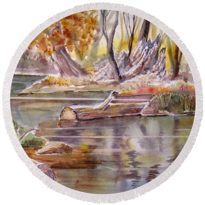 Round Beach Towel featuring the painting Wet Coast by Mohamed Hirji