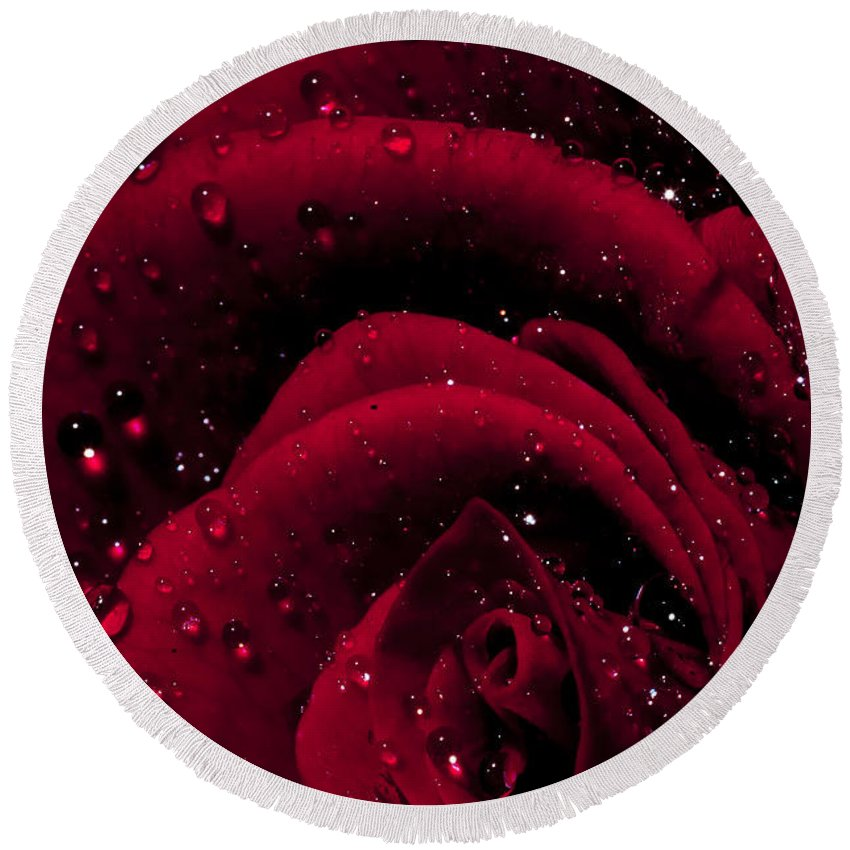 Abstract Round Beach Towel featuring the photograph Wet Rose by Nathan Wright