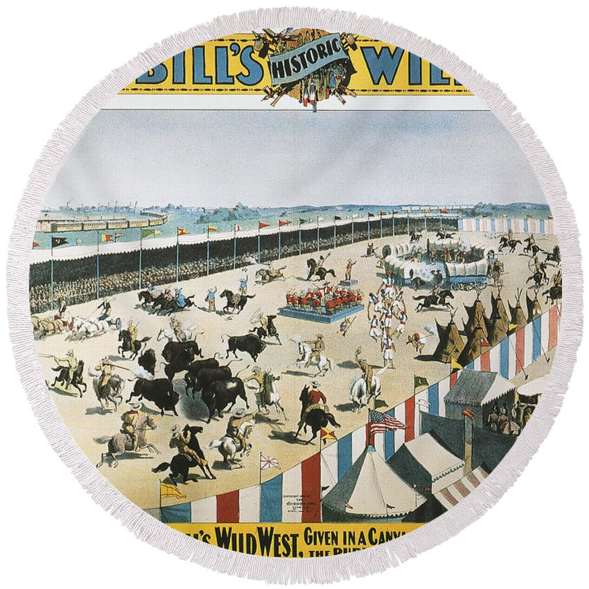 1894 Round Beach Towel featuring the photograph W.f.cody Poster, 1894 by Granger