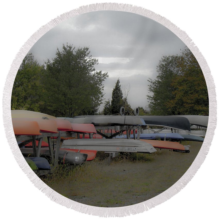 Canoes Round Beach Towel featuring the photograph What Do Canoes Dream Of by Mother Nature