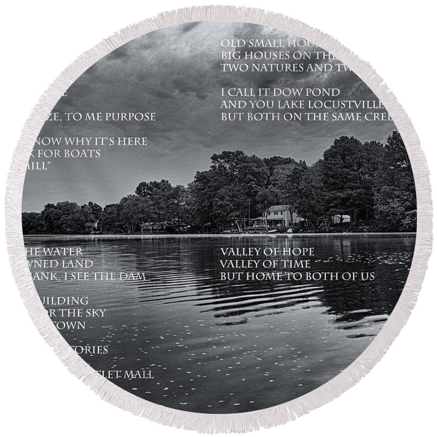 Poem Round Beach Towel featuring the photograph What Is This Place by Joshua House