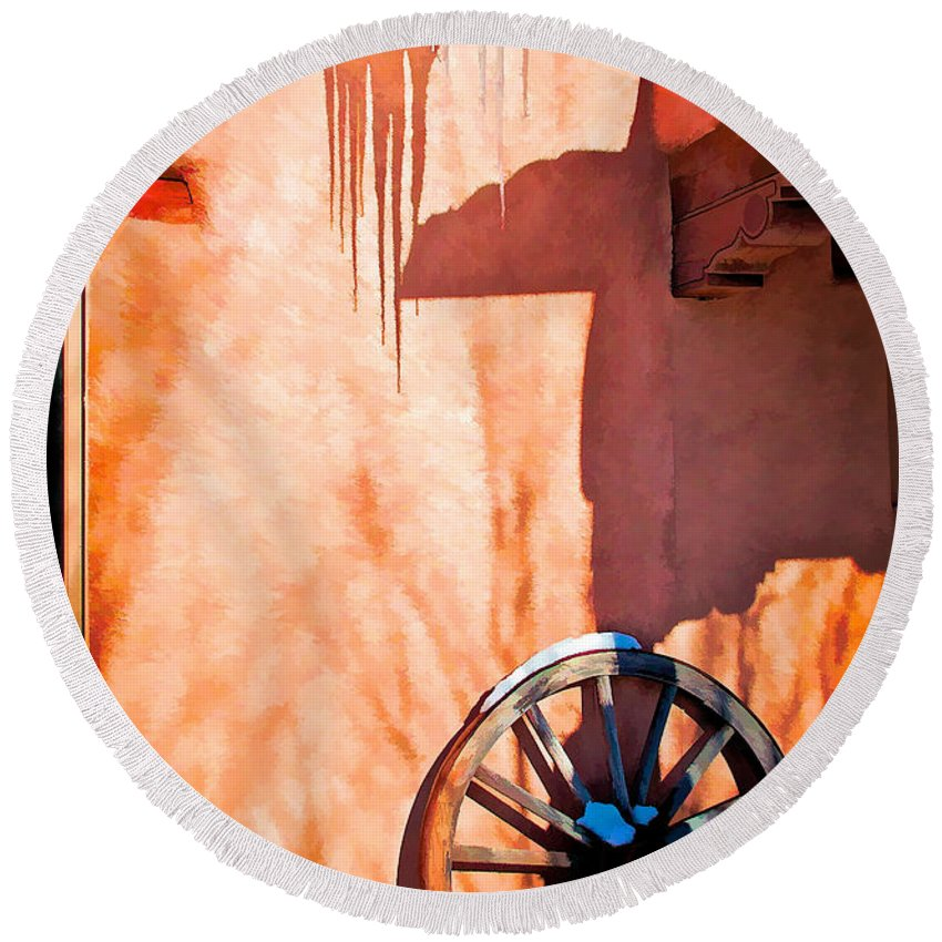 Wheel Round Beach Towel featuring the digital art Wheel And Ice by Charles Muhle