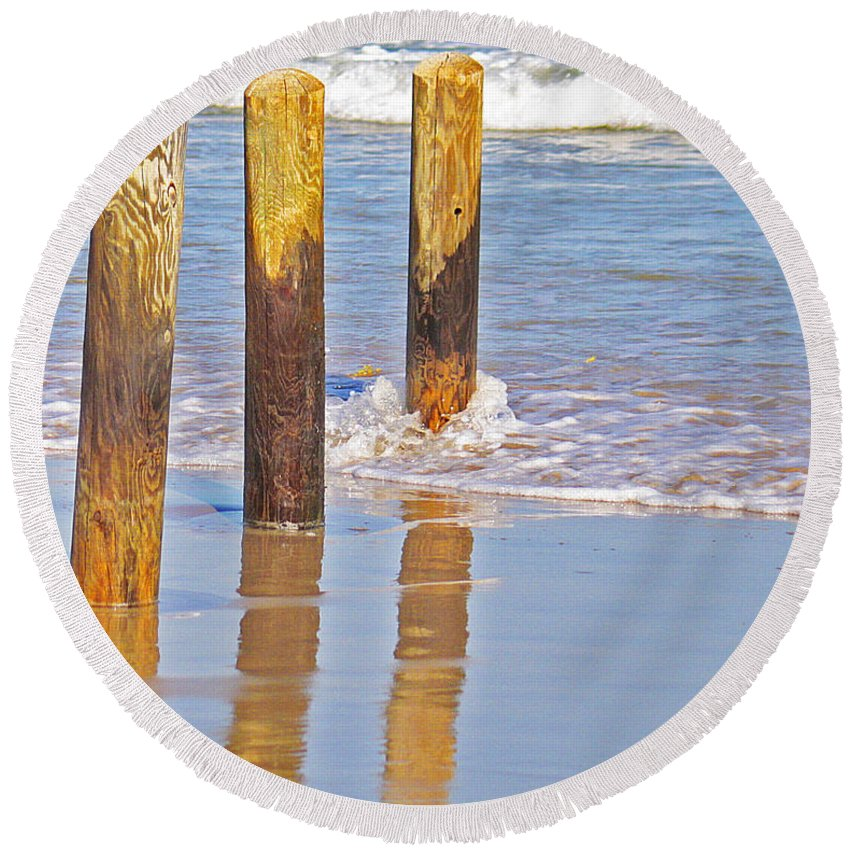 Roena King Round Beach Towel featuring the photograph When The Tide Comes In by Roena King