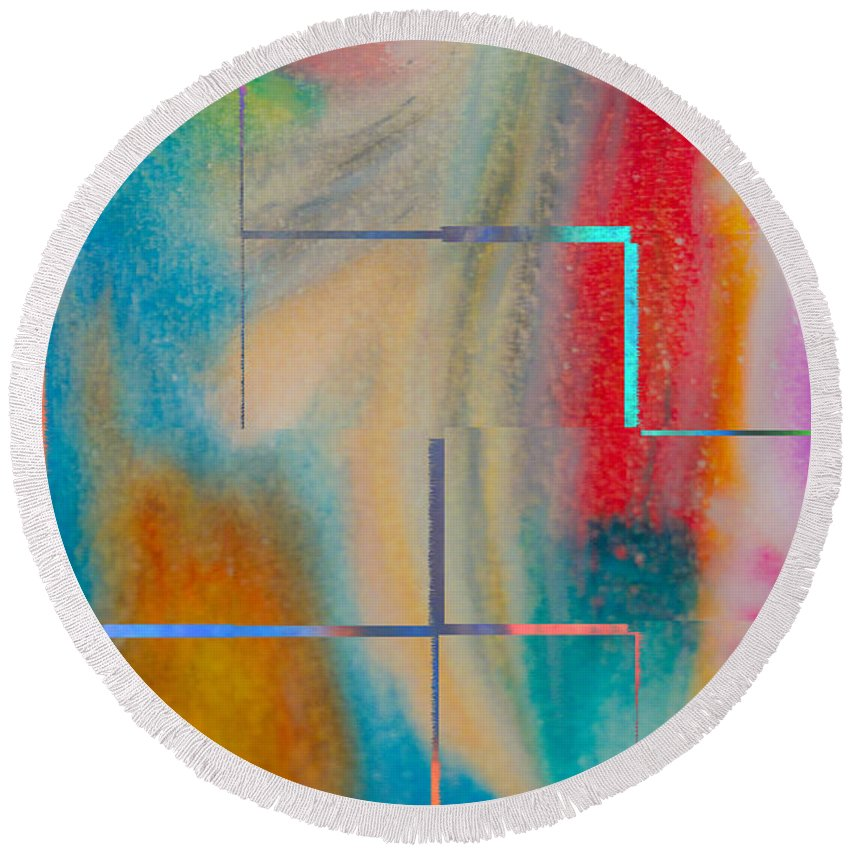 Abstract Oil Pastel Round Beach Towel featuring the painting Where My Brush Touches by Marie Jamieson