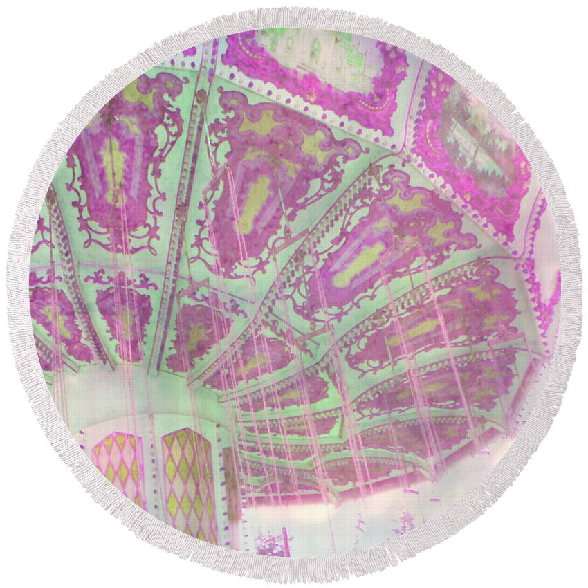 Pink Round Beach Towel featuring the photograph Whimsy Swing by Traci Cottingham