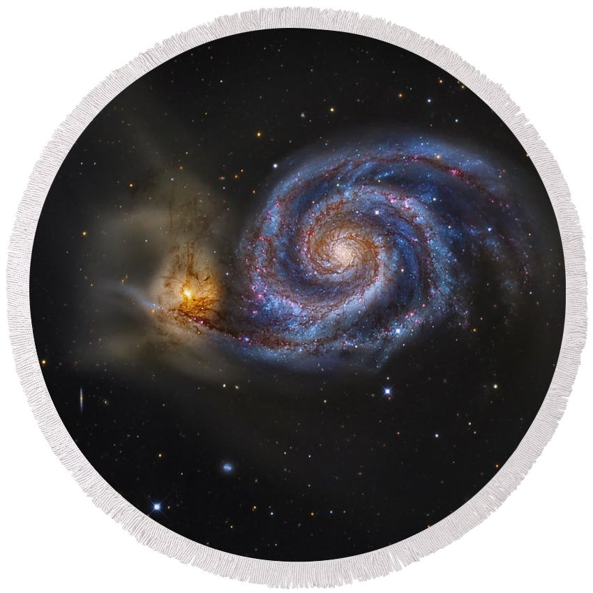 Deep Space Round Beach Towel featuring the photograph Whirlpool Galaxy by R Jay GaBany