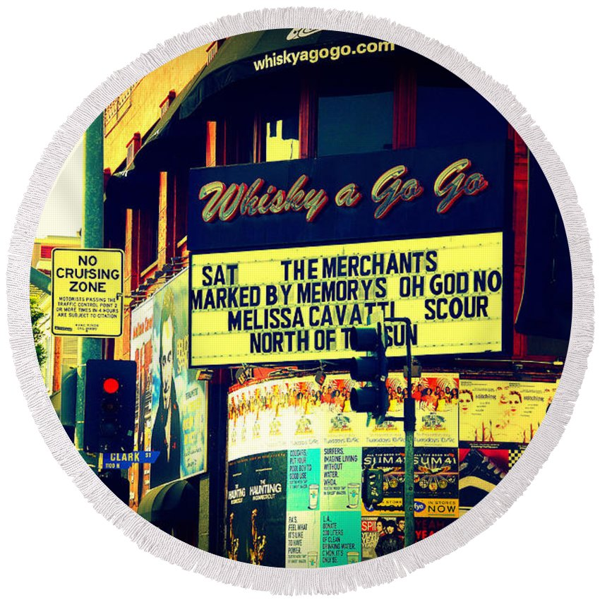 Whisky A Go Go Round Beach Towel featuring the photograph Whisky A Go Go Bar On Sunset Boulevard by Susanne Van Hulst
