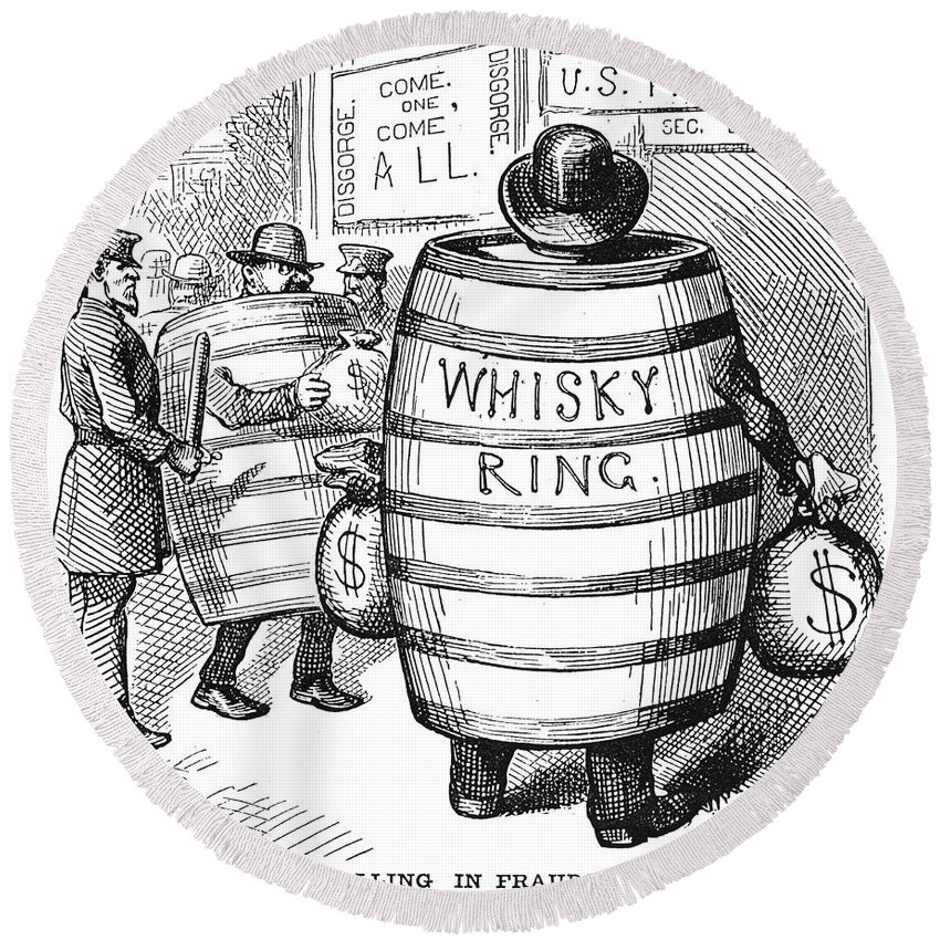 1875 Round Beach Towel featuring the photograph Whisky Ring Cartoon, 1875 by Granger