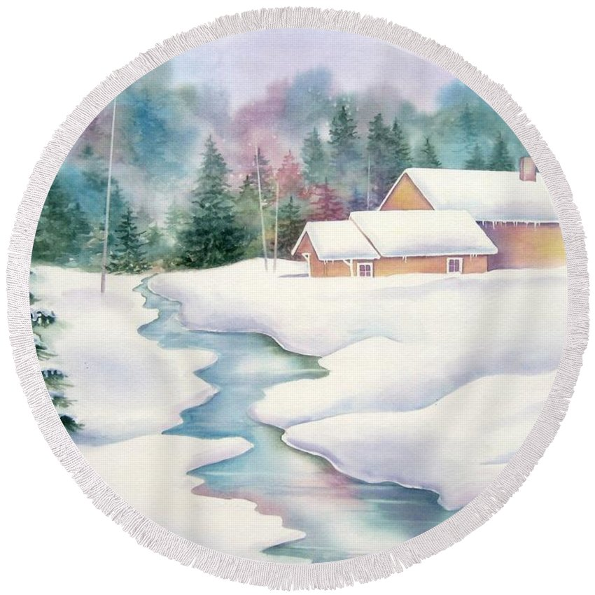 Winter Round Beach Towel featuring the painting Whispering Pines by Deborah Ronglien