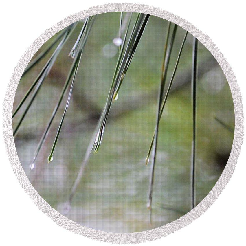 Whispers Of An Autumn Rain Round Beach Towel featuring the photograph Whispers Of An Autumn Rain by Maria Urso