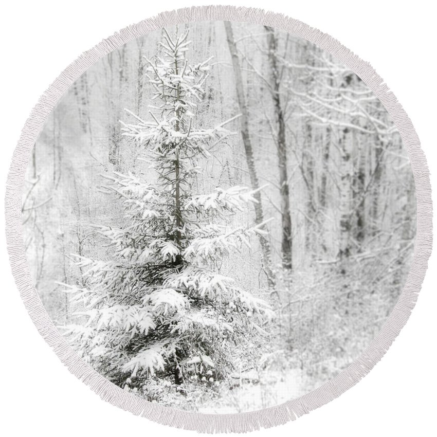 White Round Beach Towel featuring the photograph Whispers The Snow by Angie Rea