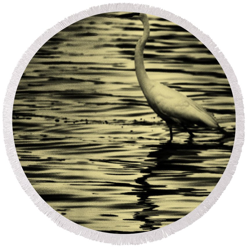 White Crane Round Beach Towel featuring the photograph White Crane by Roger Wedegis