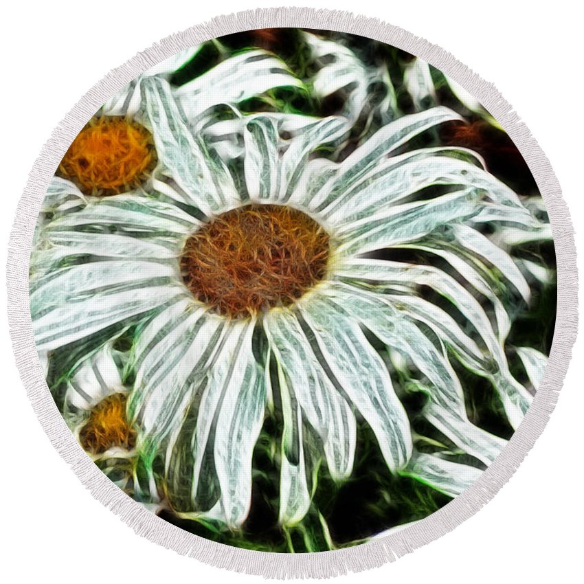 White Daisies Round Beach Towel featuring the painting White Daisies by Methune Hively