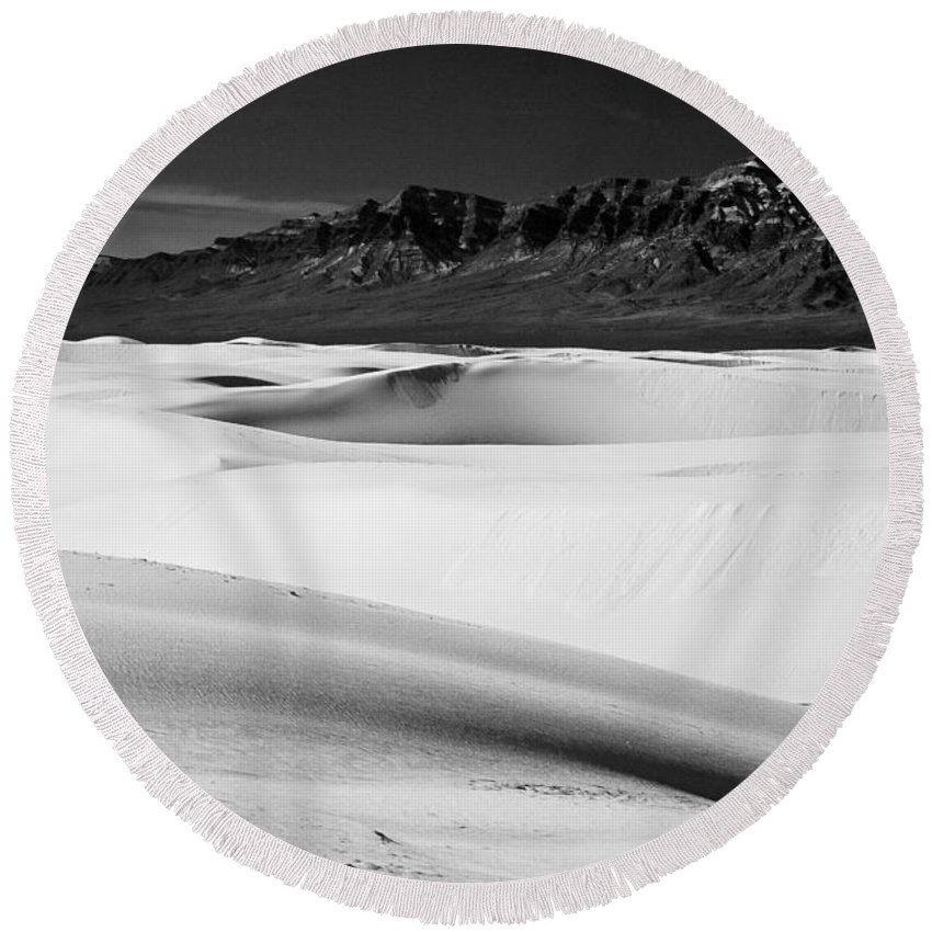 White Sands National Monument Round Beach Towel featuring the photograph White In White Sands by Ralf Kaiser