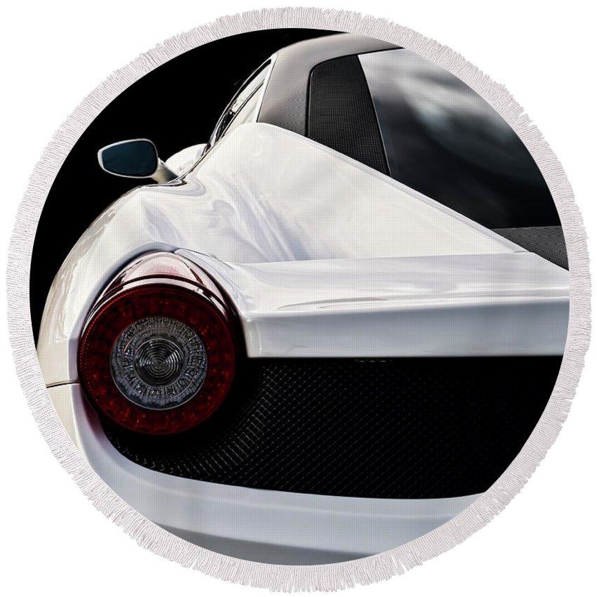 Ferrari Round Beach Towel featuring the digital art White Italia by Douglas Pittman