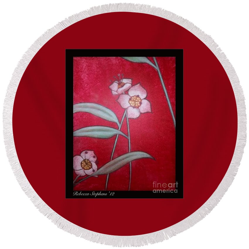 Rebecca Stephens Round Beach Towel featuring the painting White Lotus Bottom by Rebecca Stephens