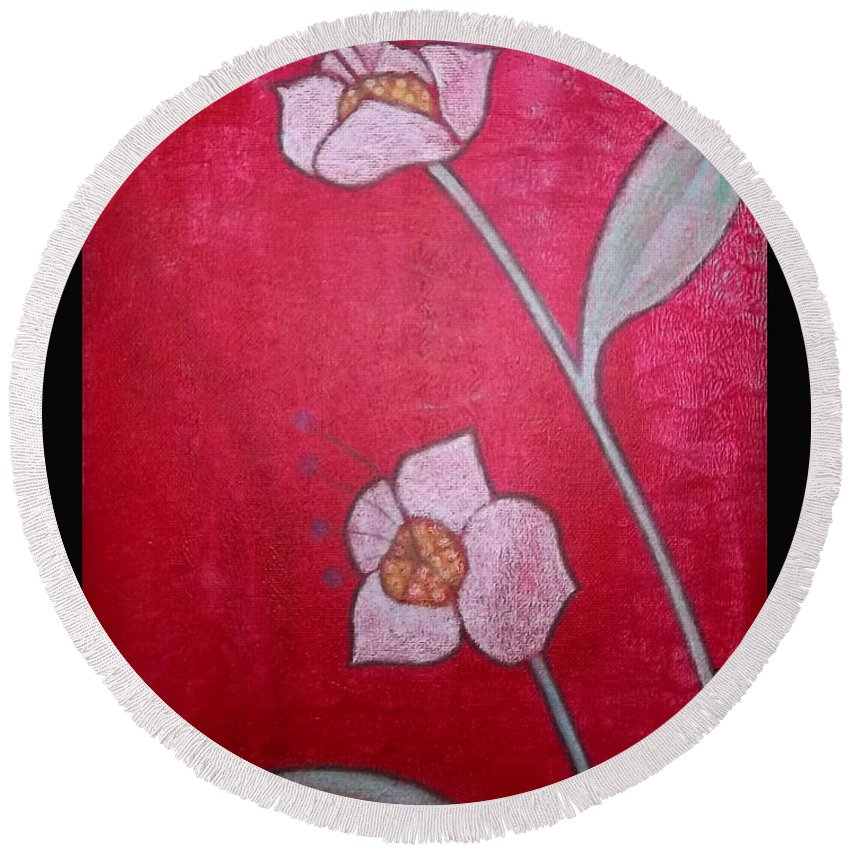 Rebecca Stephens Round Beach Towel featuring the painting White Lotus Top by Rebecca Stephens