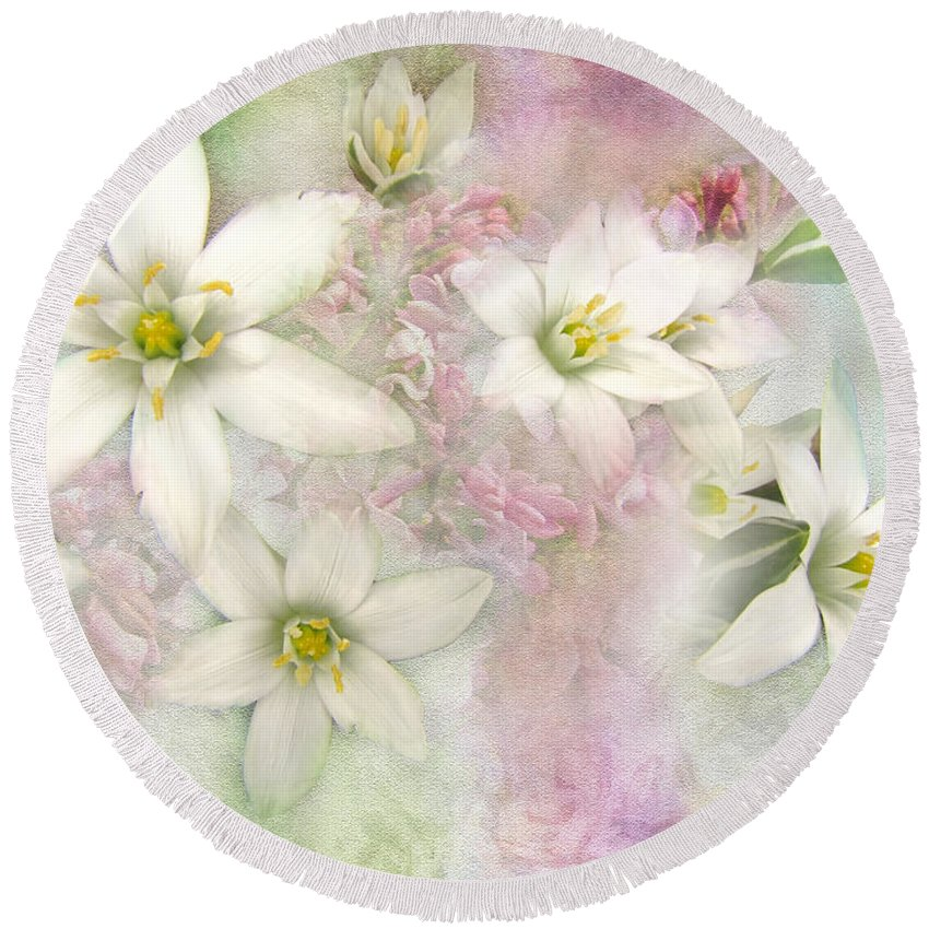 Nature Round Beach Towel featuring the photograph White Stars I by Debbie Portwood