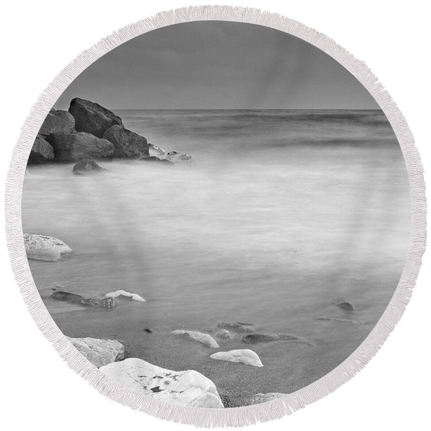 Seascape Round Beach Towel featuring the photograph White Stone by Guido Montanes Castillo