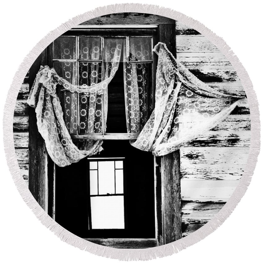 Barn Round Beach Towel featuring the photograph White Wedding by The Artist Project