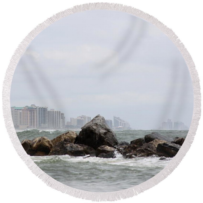 Gulf Of Mexico Round Beach Towel featuring the photograph Whitecapping by Travis Truelove