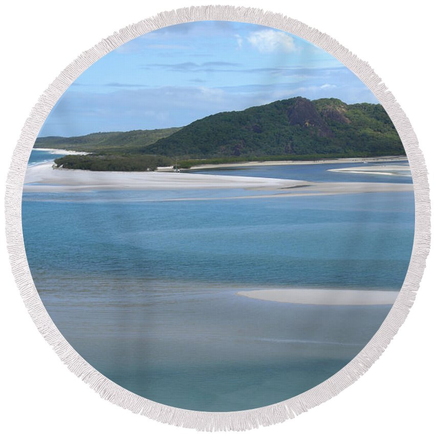 Whitsunday Island Round Beach Towel featuring the digital art Whitehaven Beach by Carol Ailles