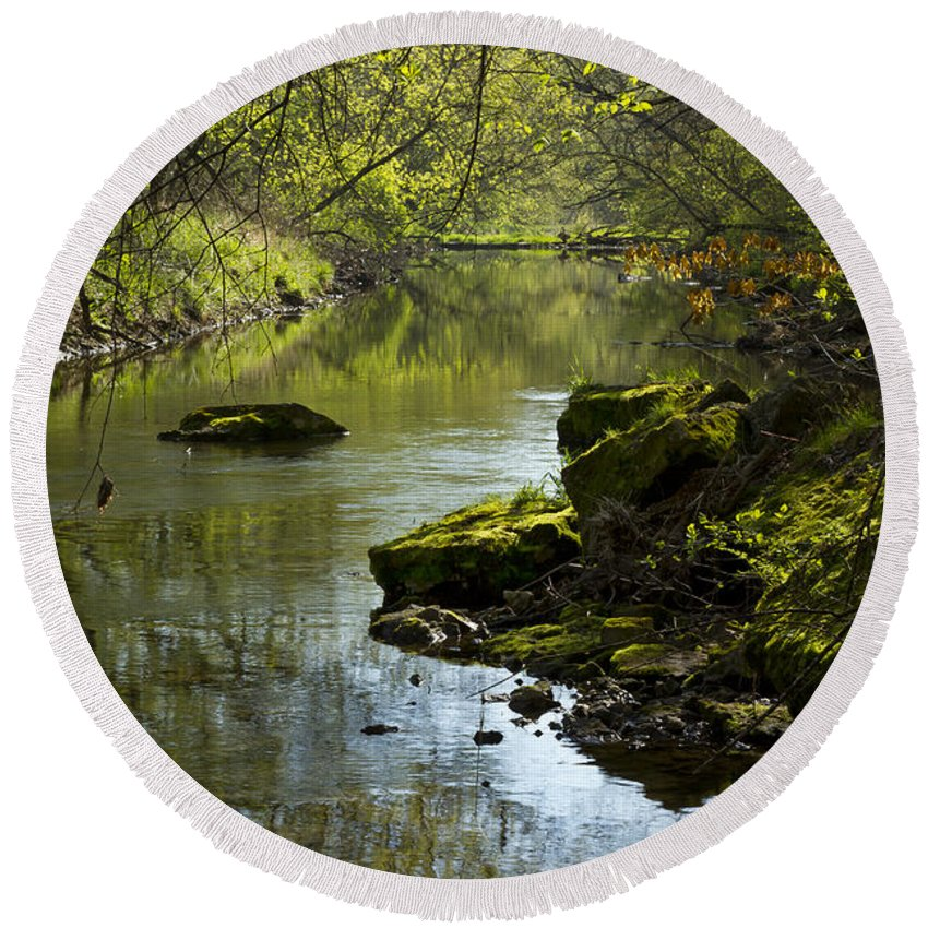 Whitewater Round Beach Towel featuring the photograph Whitewater River Spring 11 by John Brueske