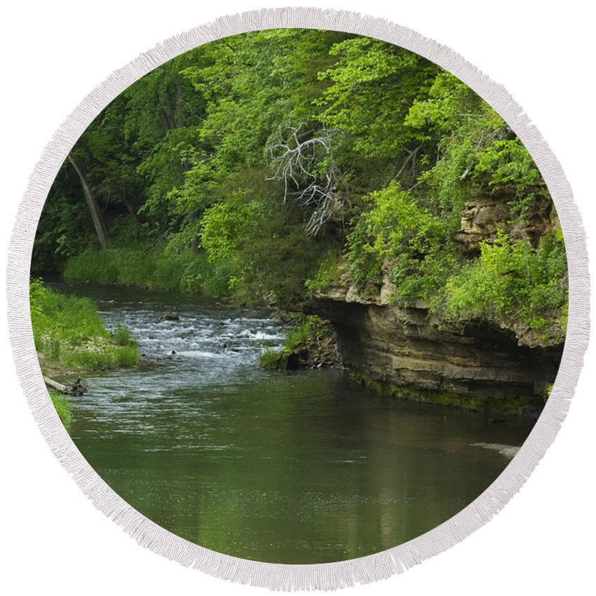 Whitewater Round Beach Towel featuring the photograph Whitewater River Spring 5 B by John Brueske