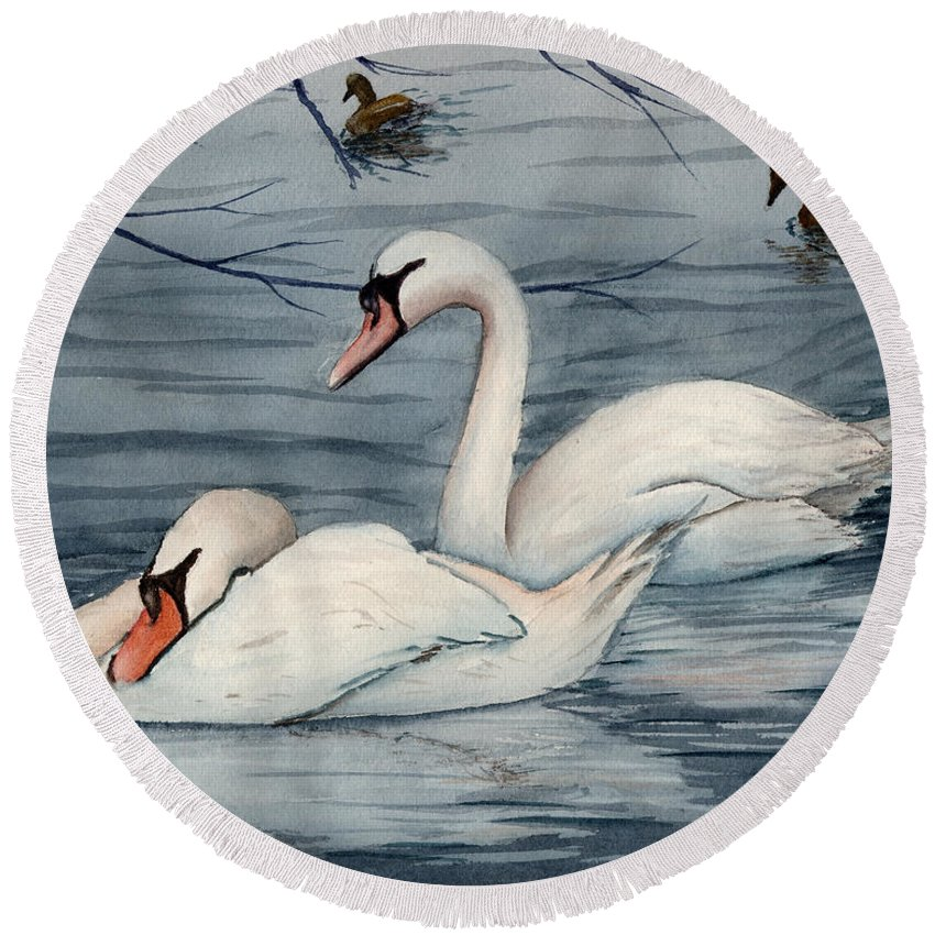 Swans Round Beach Towel featuring the painting Who Is Minding The Kids by Mohamed Hirji
