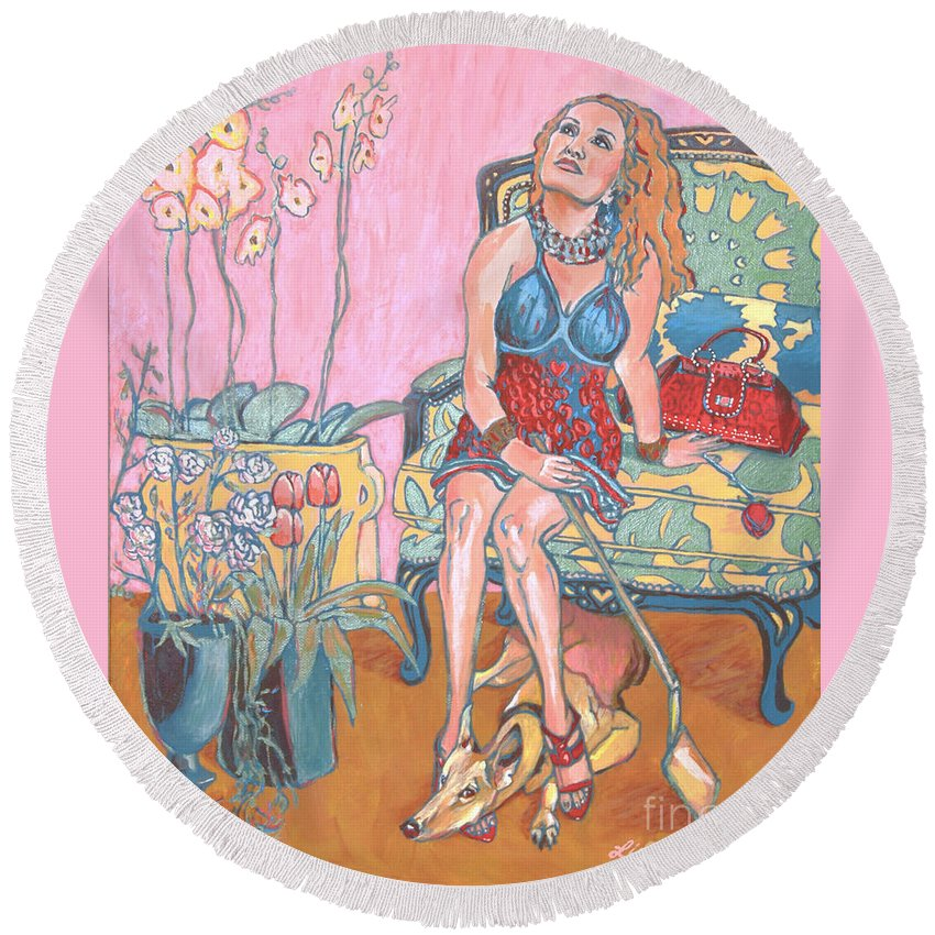Valentine's Day Round Beach Towel featuring the painting Who'll Be Mine by Lisa Hershman