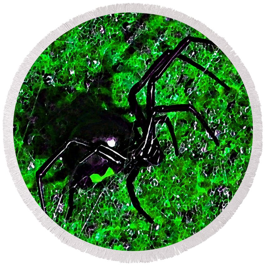 Black Widow Spider Round Beach Towel featuring the photograph Wicked Widow - Green by Al Powell Photography USA