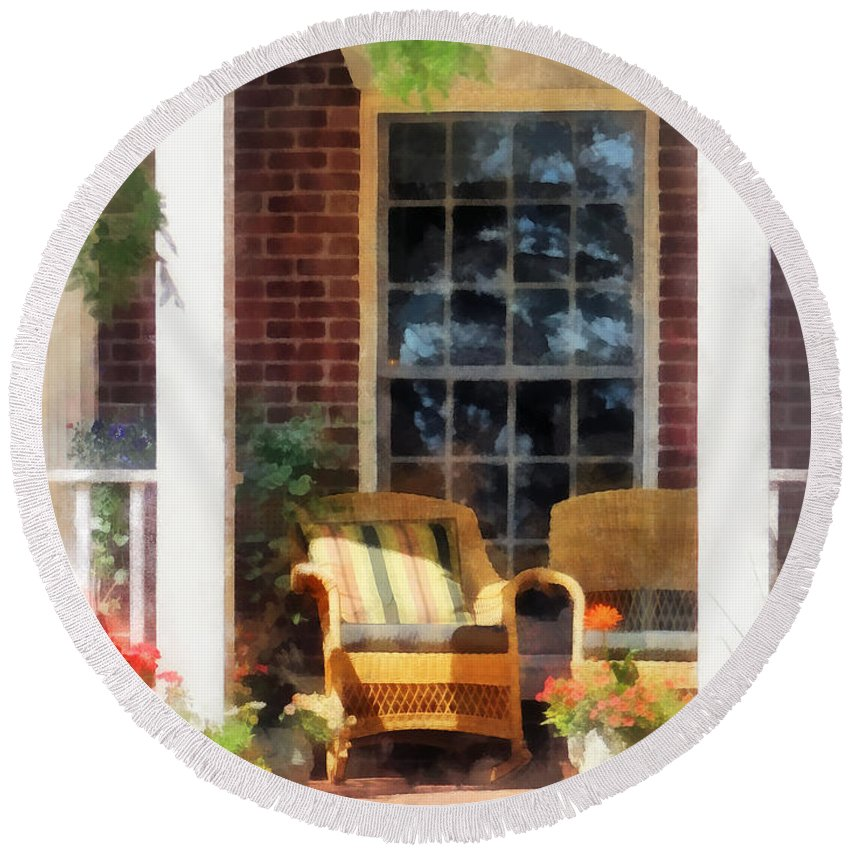 Chair Round Beach Towel featuring the photograph Wicker Chair With Striped Pillow by Susan Savad