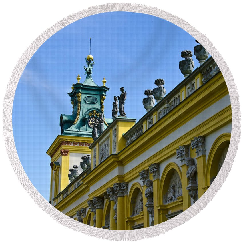 Wilanow Palace Round Beach Towel featuring the photograph Wilanow Palace - Poland by Jon Berghoff